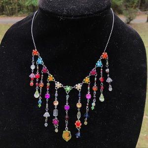 Boho crystal flower necklace